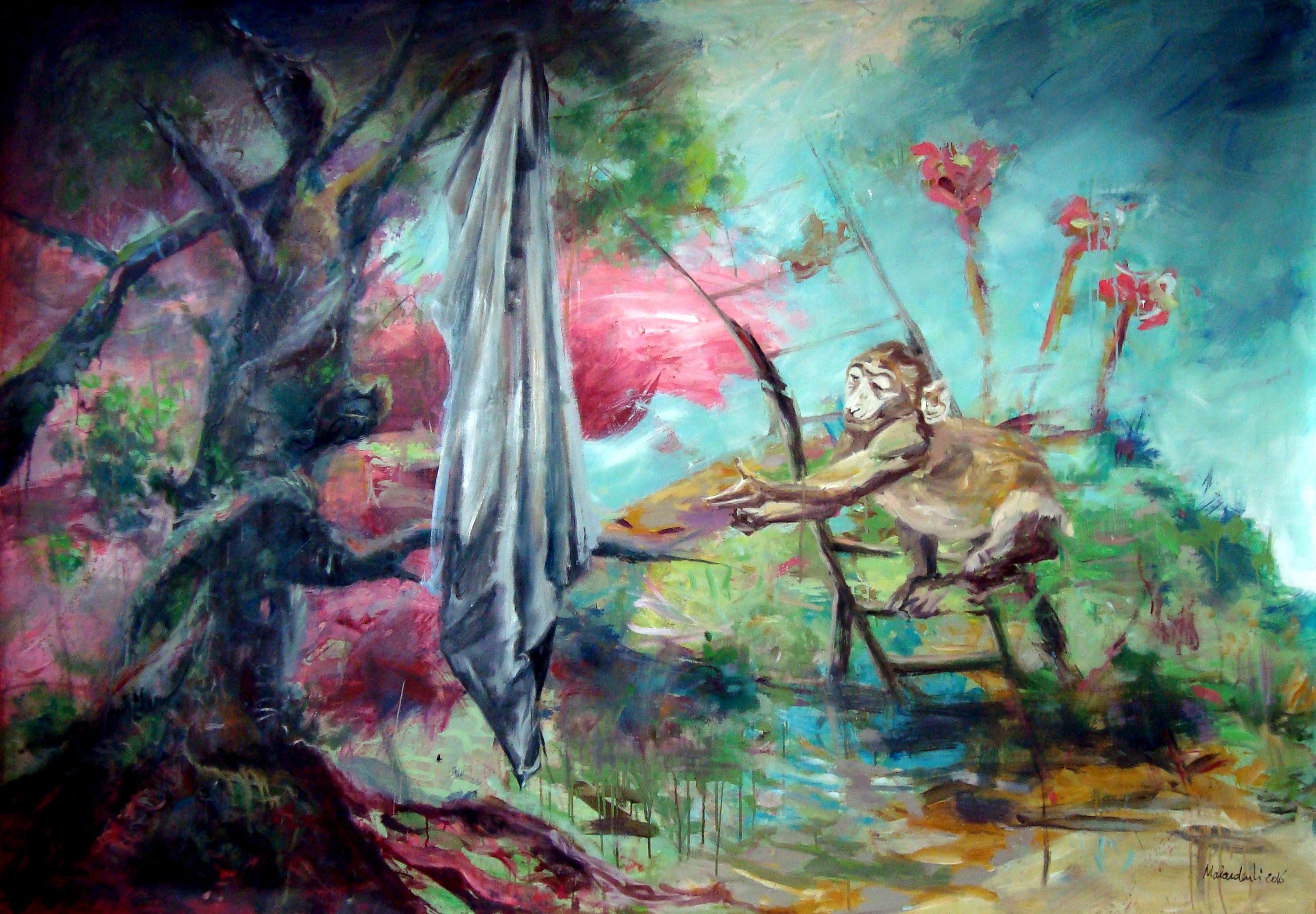 Horizons d'énigme-Oublié n°2, 2016, mixte sur toile, 195 x 130 cm