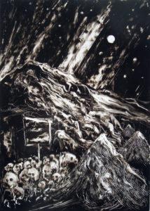 La nuit n°2, 2015, encre sur transparent, 70x50 cm