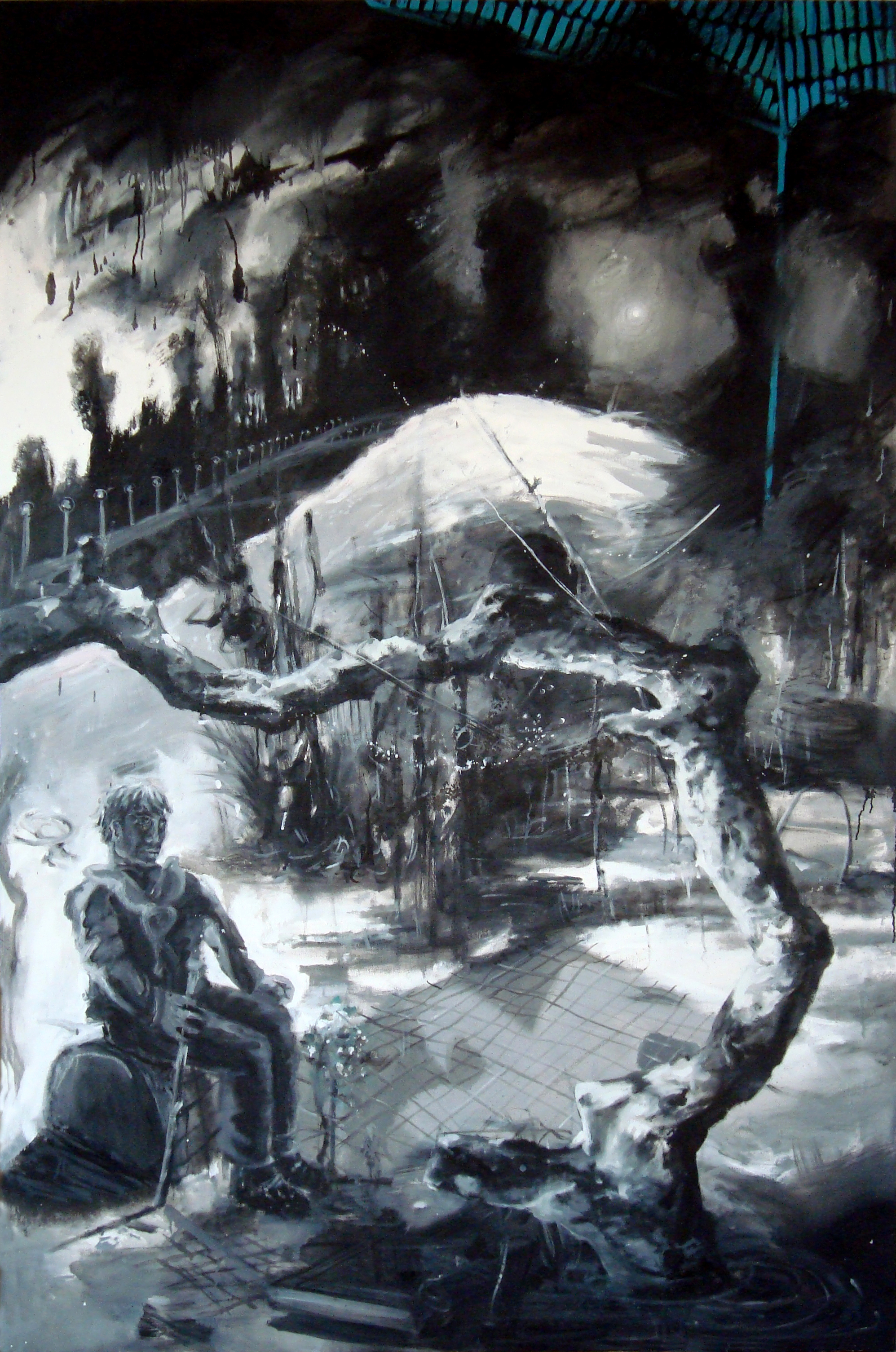 Triptyque à l'escabeau-Et après, 2016, huile sur toile, 195 x 130 cm