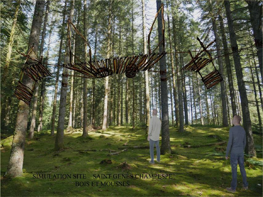 """simulation site saint genes champespe bois et mousses, projet 2, """"dans les airs"""""""