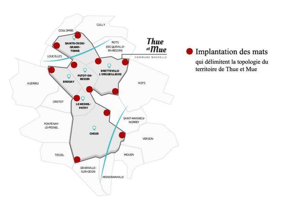 L'implantation de ces mats figure la topologie, (le plan de masse) du territoire de la nouvelle commune de Thue et Mue