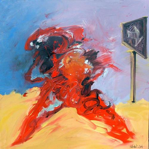 A contre sens, 2004, mixte sur toile, 100x100 cm