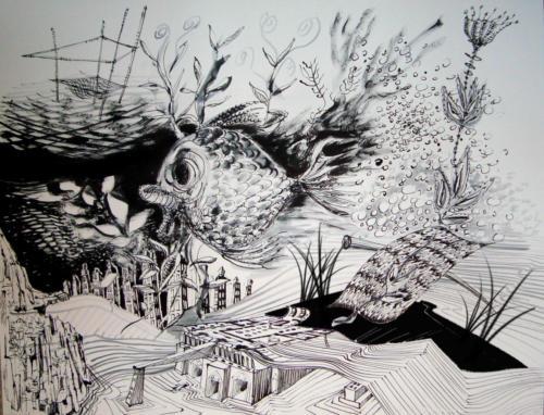 Aquarium, 2012, encre sur papier, 50 x 65 cm