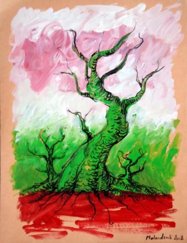 Arbre, 2008, mixte sur papier, 32x25 cm