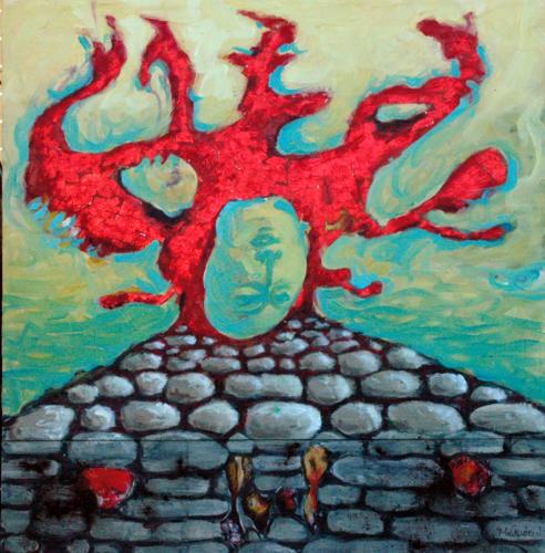 Arbre-rouge-2005-mixte-sur-toile-103x100-cm