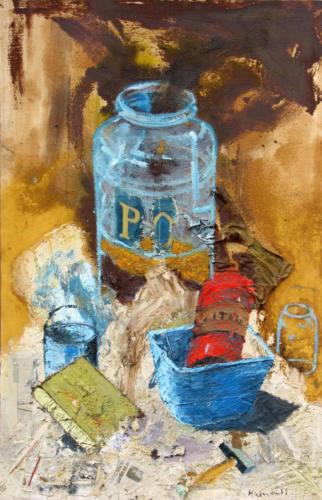 Atelier, 2004, mixte sur toile, 155x105 cm