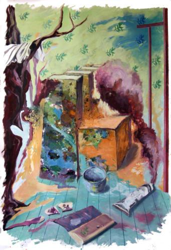 Atelier, 2008, mixte sur papier, 150x100 cm