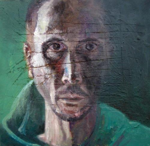 Autoportrait 3, 2018, huile sur bois, 43 x 43 cm