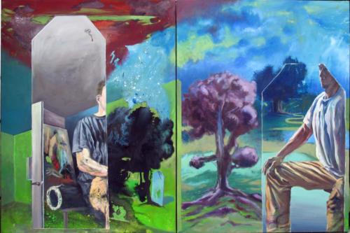 Autoportrait-aux-miroirs-2007-mixte-sur-toiles-130x198-cm