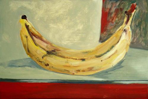 Banane cherche son caractère bananesque, 2013, huile sur isorel, 21x32 cm