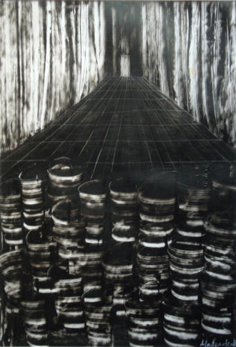 Barils n°1, 2017, encre sur transparent, 48 x 30 cm