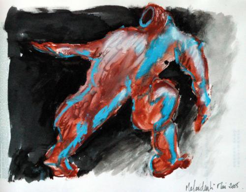 Bouche ouverte, 2005, mixte sur papier, 30x20 cm