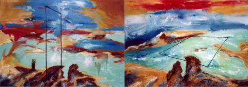 Cadres dans un paysage, 2003, mixte sur toiles, 130 x 360 cm