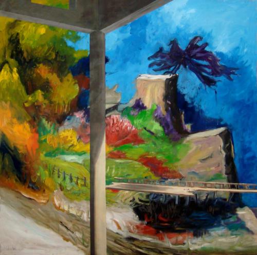 Cendres, 2011, mixte sur toile, 150x150 cm