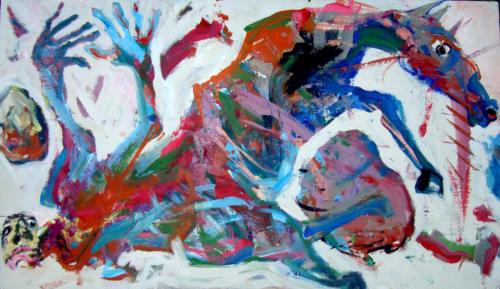 Chute, 2014, mixte sur bois, 50x89 cm
