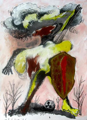 Combattant, 2006, mixte sur papier, 30x22 cm