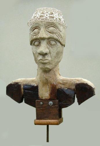 Combattant n°2, 2000, bois, plâtre, métal, 80 x 50 x 40 cm