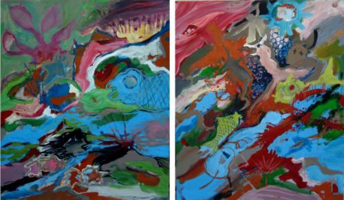 Compo sans titre 3, 2014, mixte sur toiles, 65x110 cm