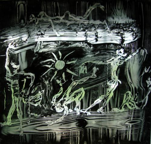 Danse macabre, 2020, encre sur plexi, 50 x 50 cm