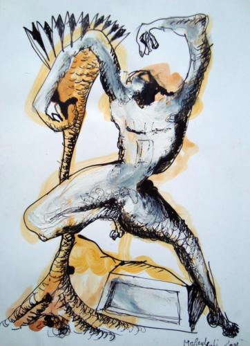 Danser, mixte sur papier, 30x21 cm