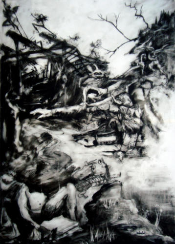 D'après Grünewald, 2016, encre sur plexi, 70 x 50 cm