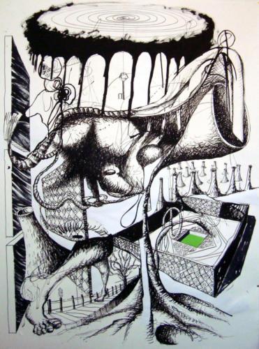Déploiement 2012, encre sur papier et collage, 150x110 cm