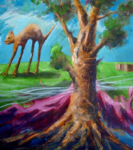 Derrière un arbre, un chat, 2020, mixte sur toile, 65 x 54 cm