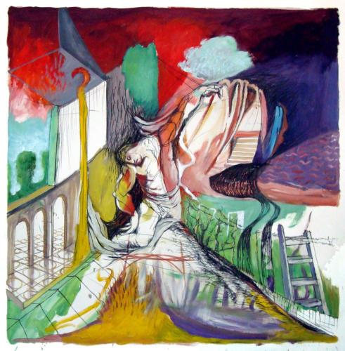 Descente de croix, 2012, huile sur papier, 105x105 cm