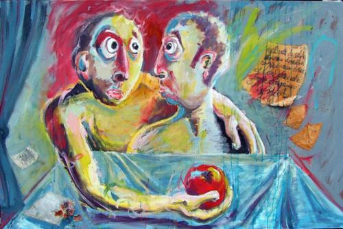 Deux ahuris, 2004, mixte sur toile, 97x146 cm