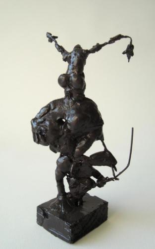 Deux en un, 2000, bois, plâtre, métal, 20 x 10 x 10 cm