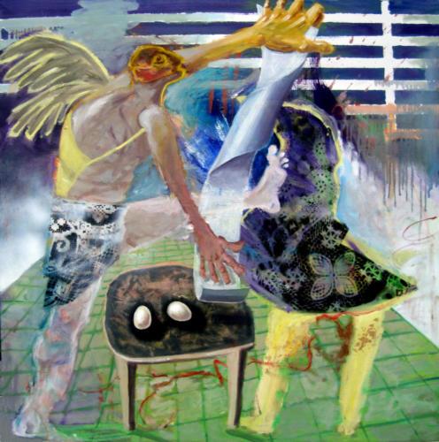 Deux oeufs, 2018, mixte sur toile, 100 x100 cm 4