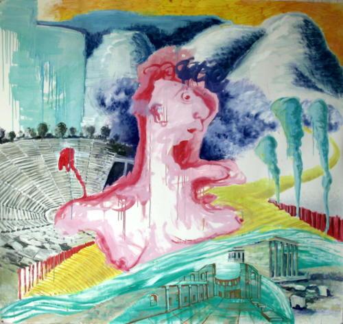 Devant un cirque, 2006, huile sur papier, 140x150 cm
