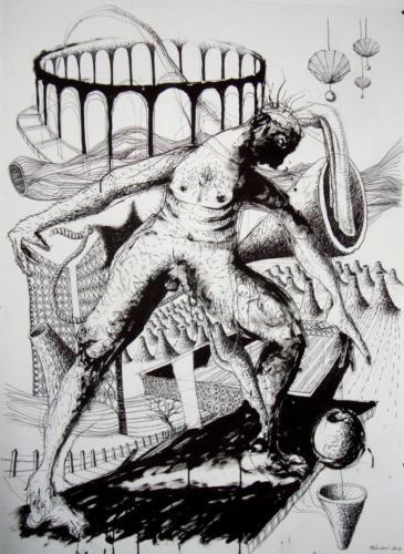 Devant un cirque, 2008, encre sur papier, 150x110 cm