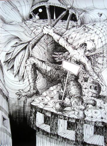 Disparaître, 2016, encre sur papier, 150 x 110 cm