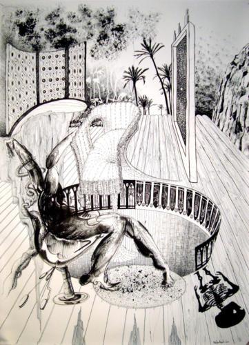 Dompteur d'abeille, 2012, encre sur papier, 150 x 110 cm