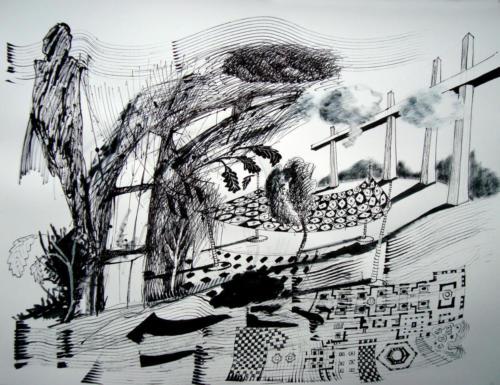 Dressé, 2012, encre sur papier, 50x65 cm