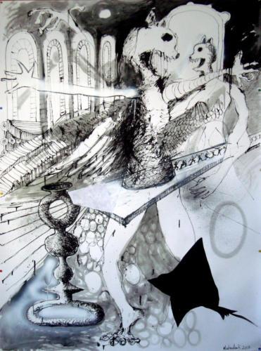 Ecarté, 2017, encre sur papier; 150 x 110 cm