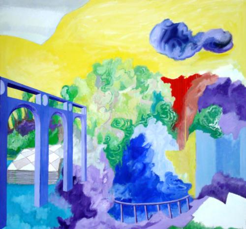 En pensant à Bonnard, 2009, mixte sur toile, 100x100 cm