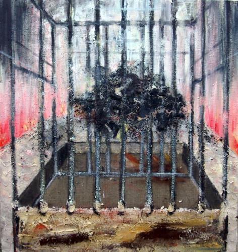 Explosion, 2004, mixte sur toile, 99x105 cm