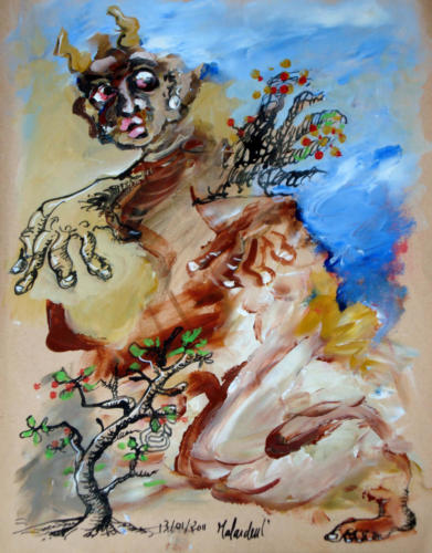 Faune inquiet, 2011, mixte sur paapier, 32 x 25 cm