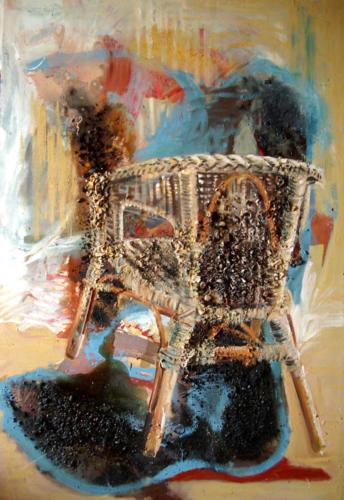 Fauteuil n°3, 2004, mixte sur toile, 161x111 cm