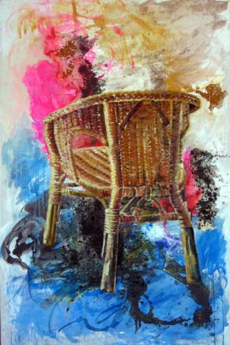 Fauteuil n°4, 2004, mixte sur toile, 196x97 cm