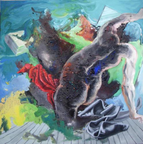 Fille de Leucippe, (d'après Rubens), 2008, mixte sur panneau de bois, 122x122 cm