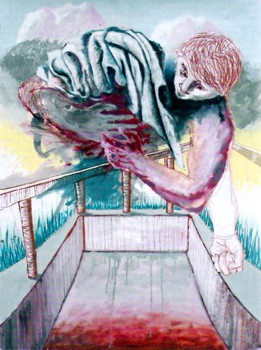 Fin de Sisyphe, 2006, huile sur papier, 100x70 cm
