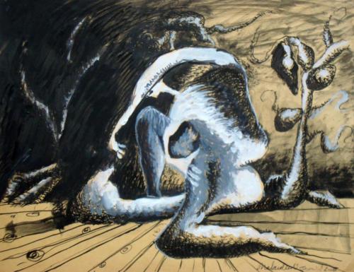 Forme dans un paysage, 2008, mixte sur papier, 25 x 32 cm