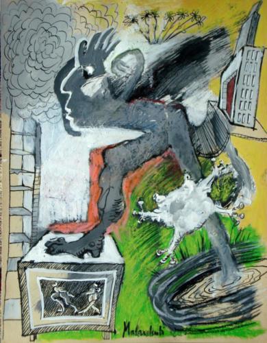 Fugitif, 2011, mixte sur papier, 32 x 25 cm