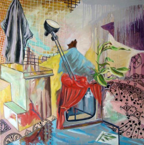 Goya à la télé, 2009, huile sur toile, 100x100 cm