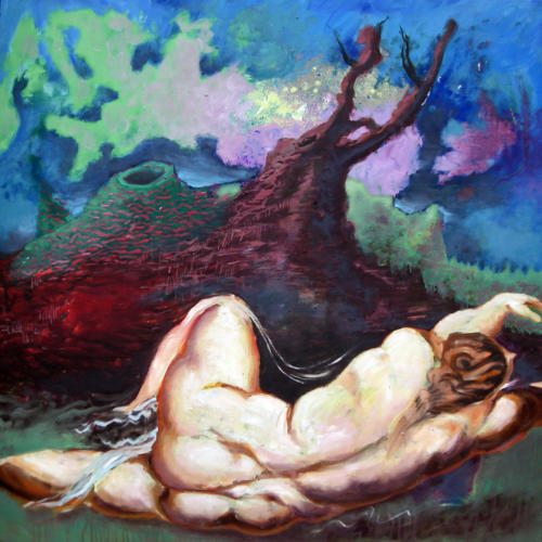 Hero-et-Léandre-daprès-Rubens-2007-mixte-sur-bois-122x122-cm