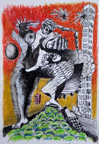 Homme des villes, 2008, mixte sur papier, 30x21 cm