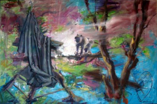 Horizons d'énigme-Oublié n°1, 2016, mixte sur toile, 130 x 195 cm
